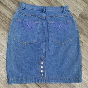 90s TOGETHER X SPIEGEL Floral Lace Denim Skirt
